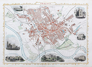 Antique Map of Preston by rapkin and tallis for sale