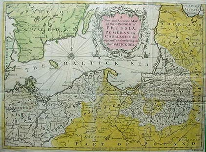 Antique map of Prussia