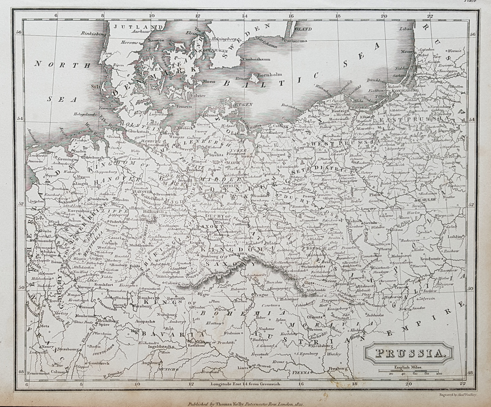 Prussia antique map by Kelly