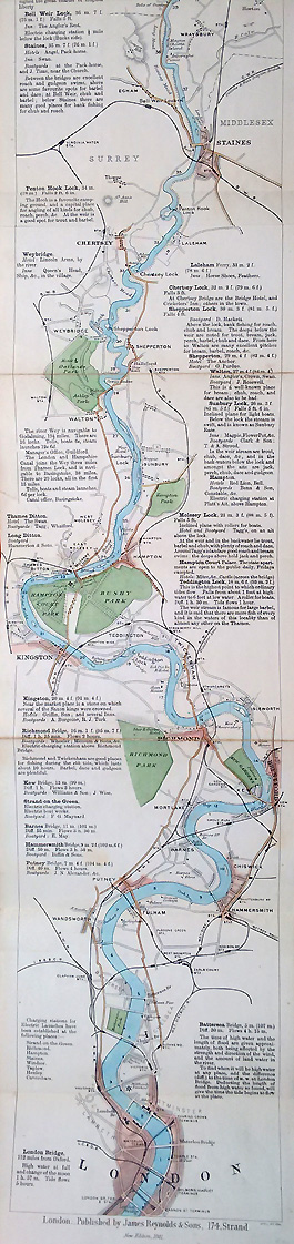 Antique map of the River Thames for sale
