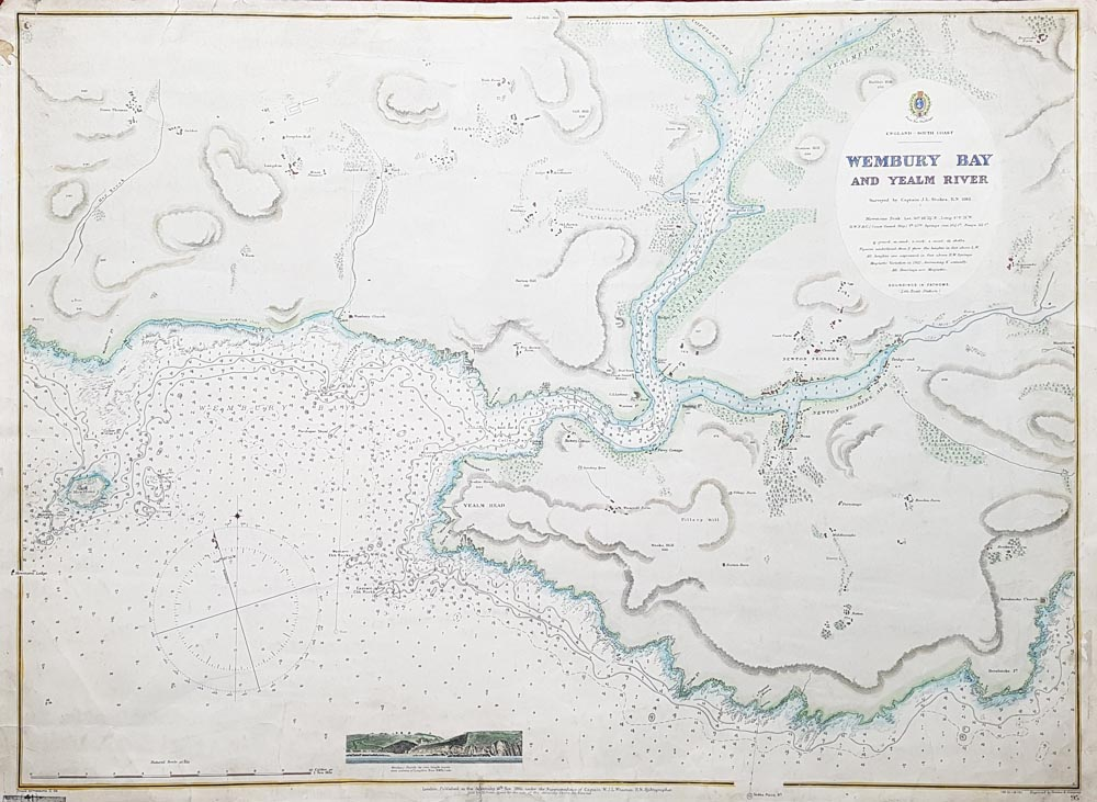 Vintage sea chart of the River Yealm