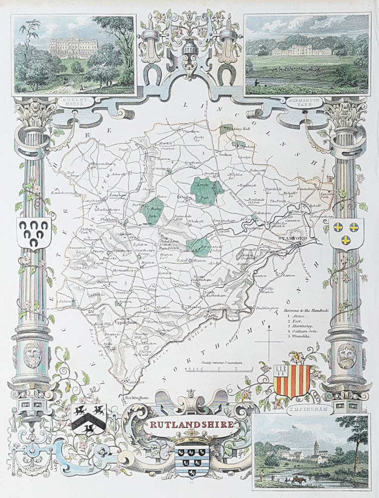 Antique map of Rutlandshire by Thomas Moule
