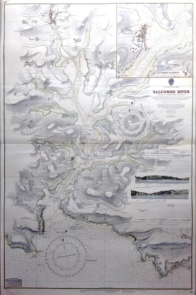 Vintage Admiralty Chart Salcombe Harbour 1863 1953