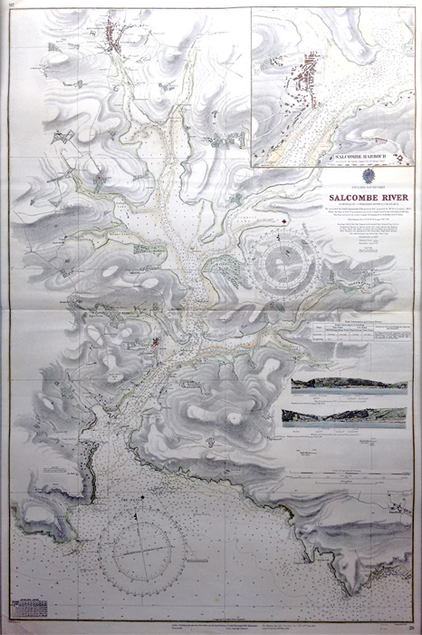 Salcombe vintage sea chart