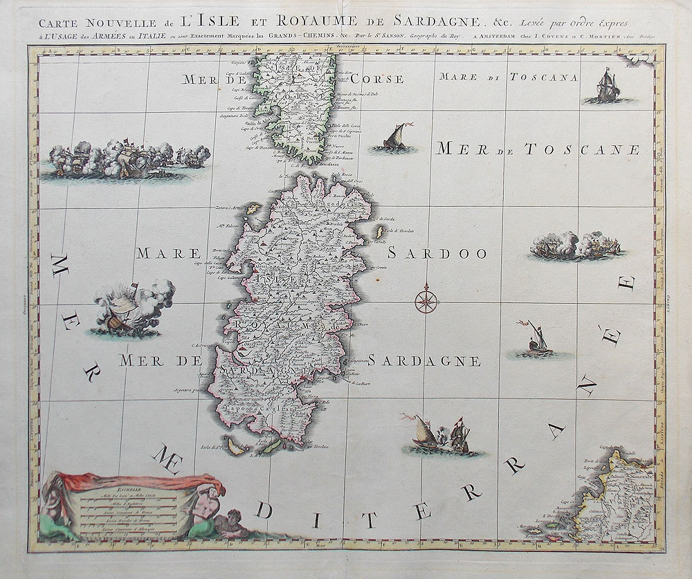 Sardinia 18th Century Map by Nicholas Sanson for sale circa 1705
