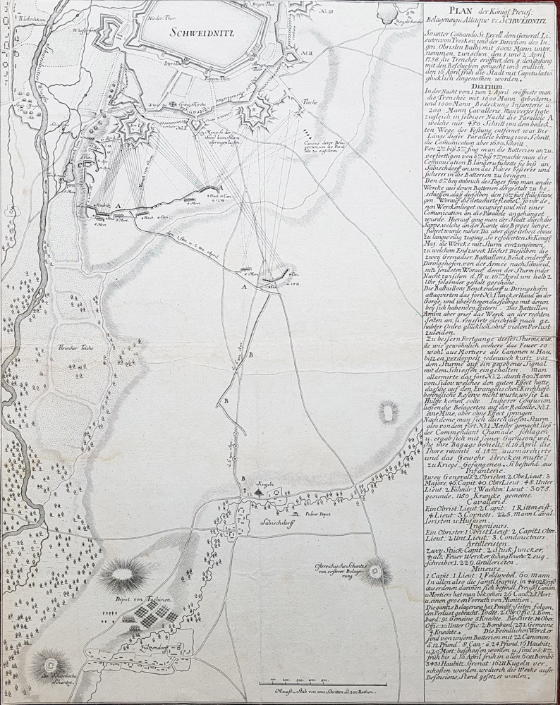 Antique map of the battle of Schweidnitz
