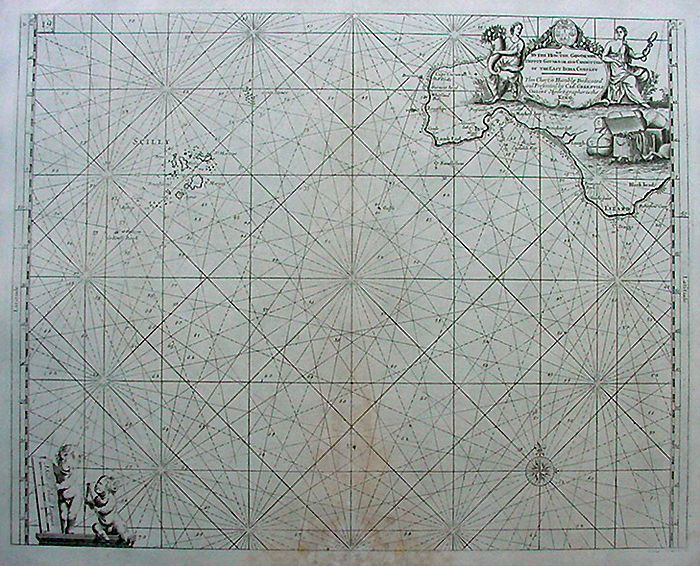 Isle of Scilly 18th century sea chart by Capt Greenville Collins