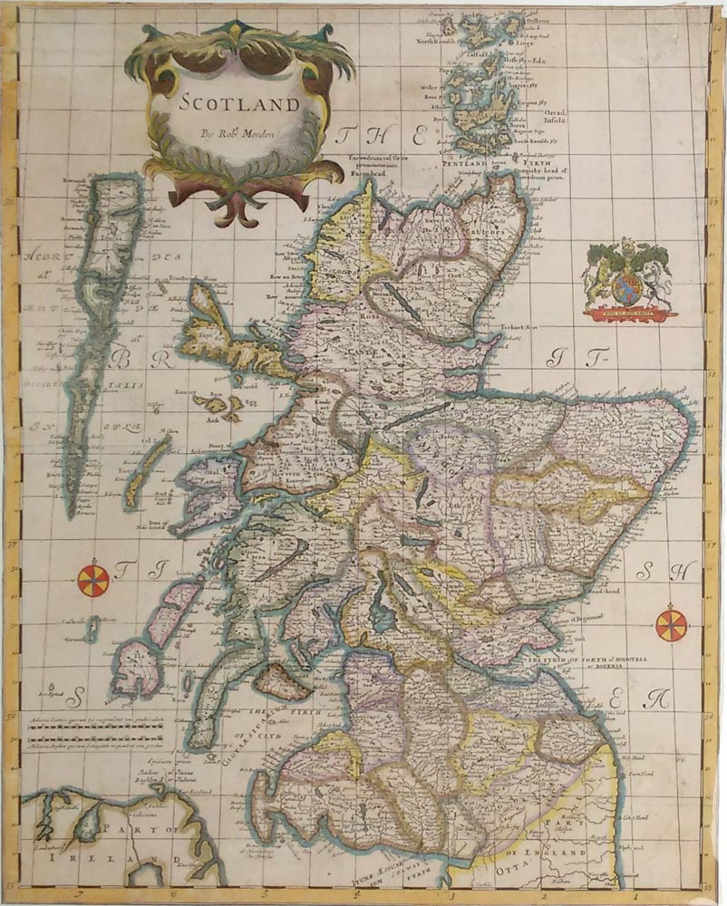 Scotland map by Robert Morden for Sale