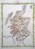 Scotland 19th century map by Rapkin