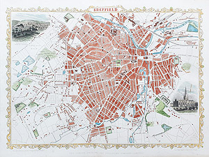 Antique Map of Sheffield by rapkin and tallis for sale