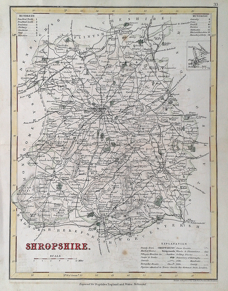 19th century map of Salop