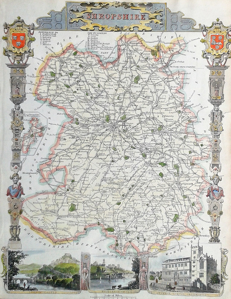 Decorative Victorian Map of Shropshire