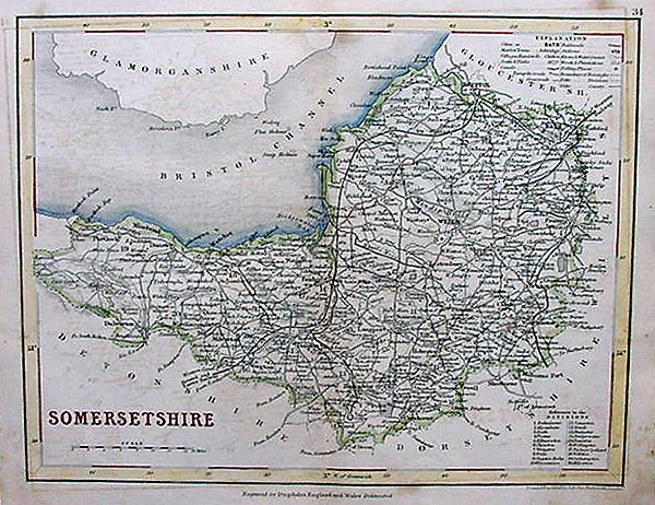 Antique Map of Somerset - Archer