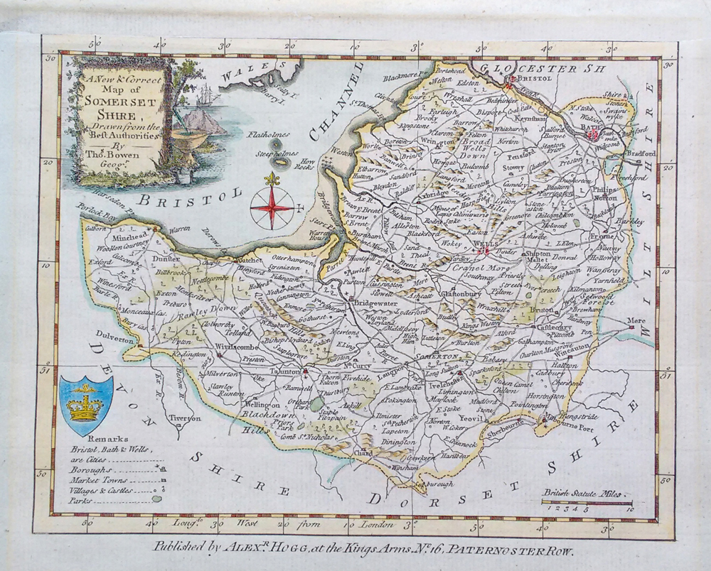 Somerset Map circa 1790 by Bowen for Walpoole and Hogg
