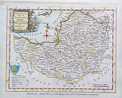 Bowen 18th century antique map of Somerset for sale