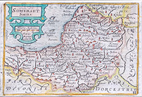 Somerset map by Van den Keere miniature Speed map for sale