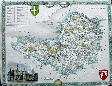 Antique Map of Somerset by Thomas Moule