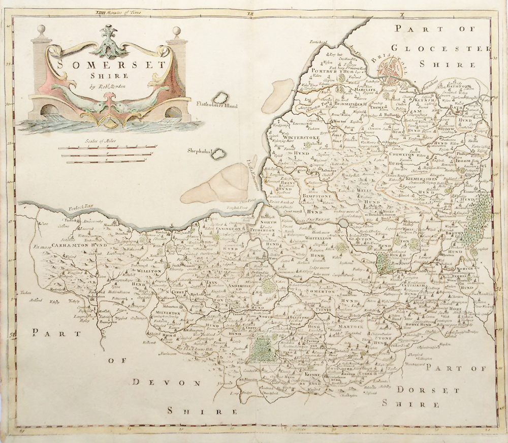 18th century map by Robert Morden of Somerset