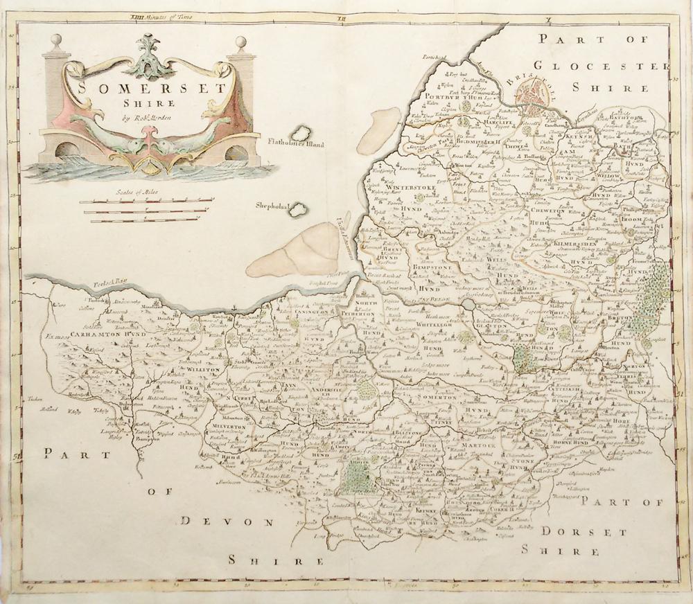 Original Antique Map Somerset Robert Morden Circa 1695 Genuine Antique