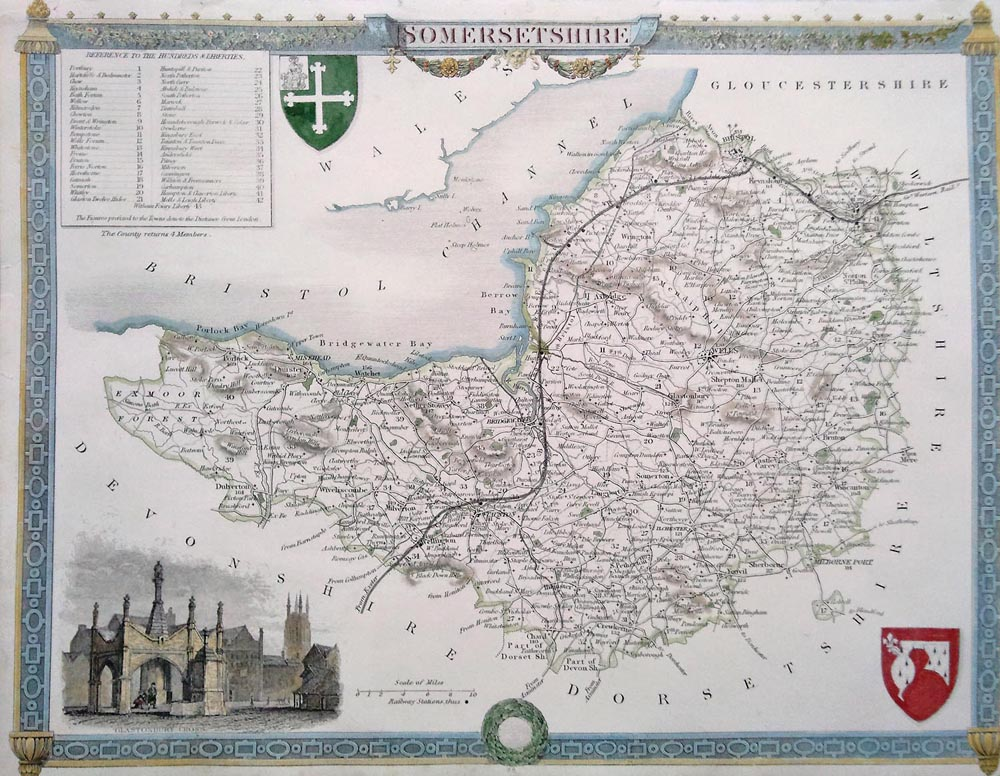 Somerset antique map by Thomas Moule