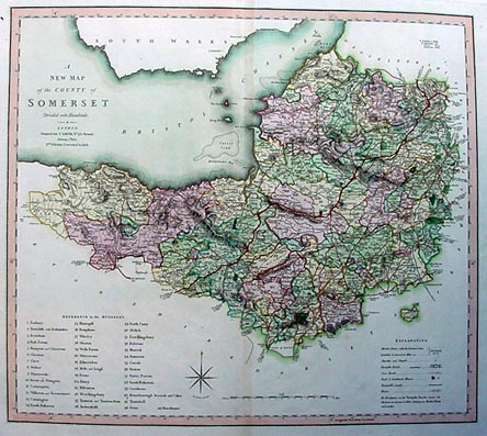 Antique map of Somerset by Smith