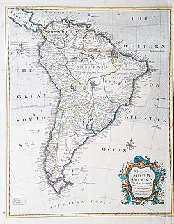 18th century map of South America for sale - Seale