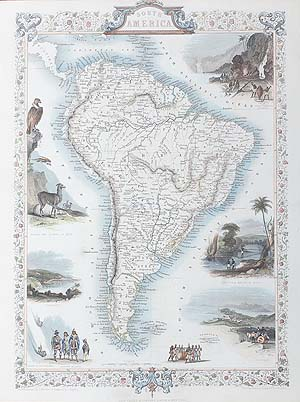 South America antique map for sale