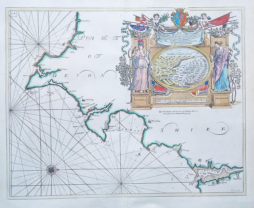 South Devon England Map.Old Antique Sea Chart South Devon Greenville Collins Circa 1693