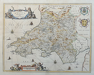 17th century antique map of South Wales for sale by Jansson