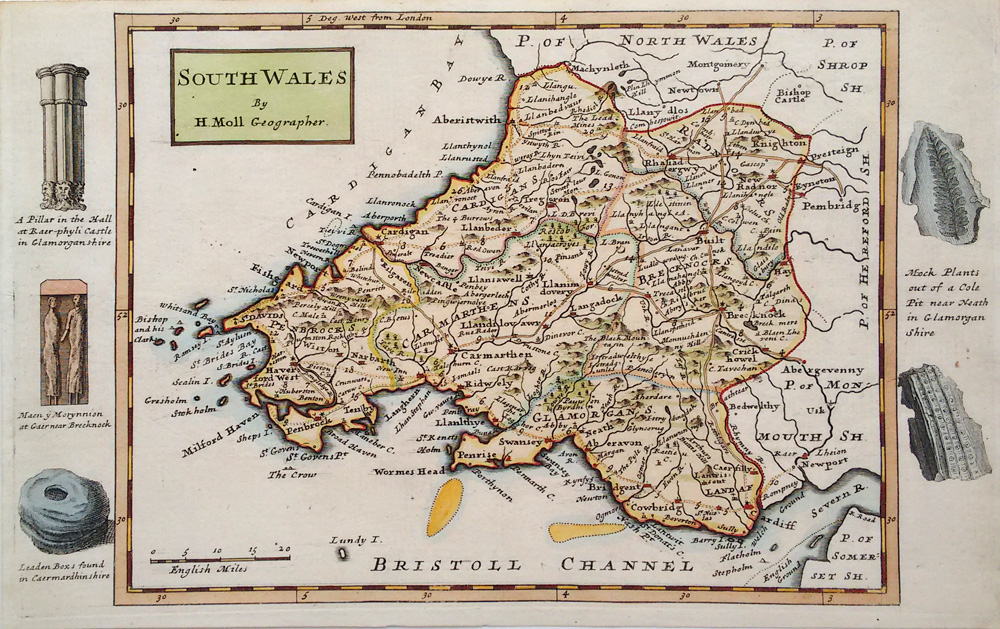 Antique map of South Wales by Moll