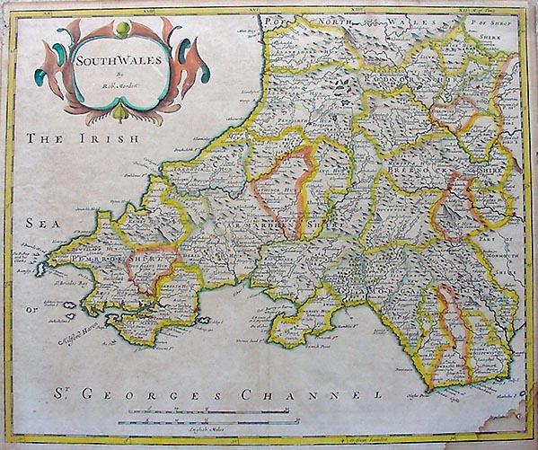 Antique Map Of South Wales Robert Morden - Vintage maps uk