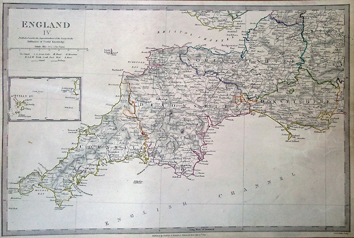 South Of England Map Uk.Antique Map Of The South West Of England Dated 1830