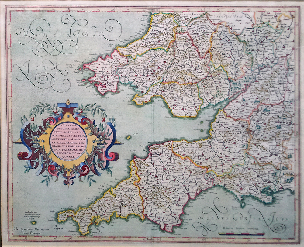 17th Century map of England and Wales by Mercator