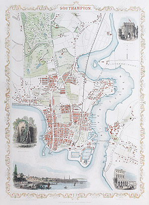 Antique Map of Southampton by rapkin and tallis for sale