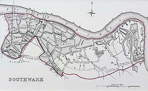 Walker antique map of Southwark London for sale