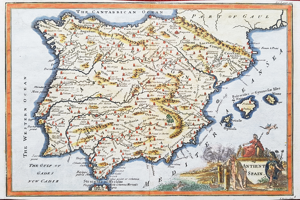 Antique map of Spain by Isaac Basire