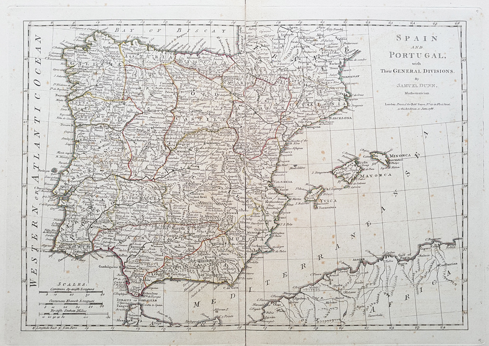 antique map of Spain and Portugal for sale