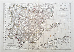 18th century map of Spain for sale by Dunn