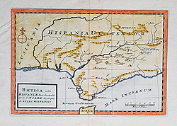 Southern Spain map for sale by Moll 18th century