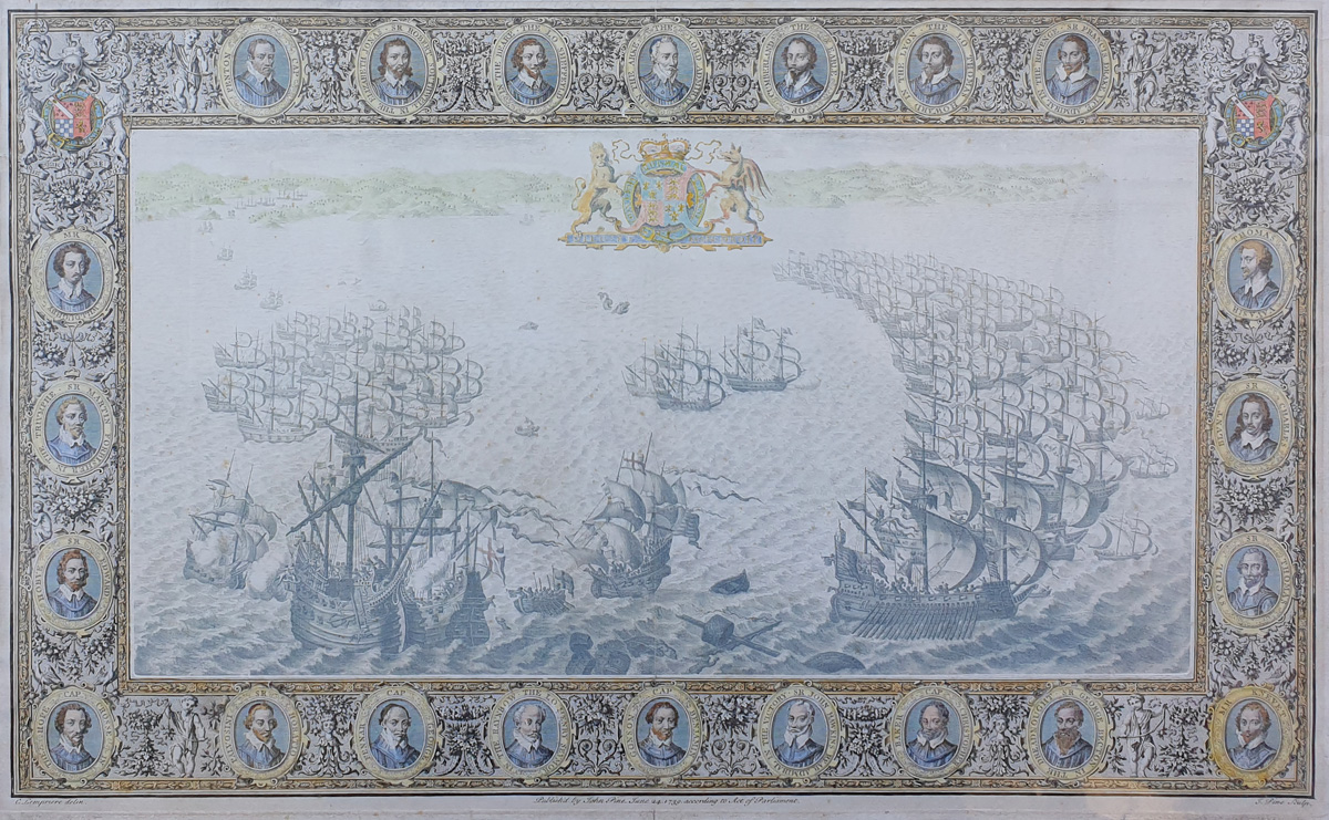 The Tapestry Hangings in the House of Lords - Spanish Armada Plymouth by John Pine