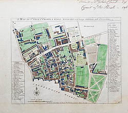 St Giles Cripplegate London antique map for sale