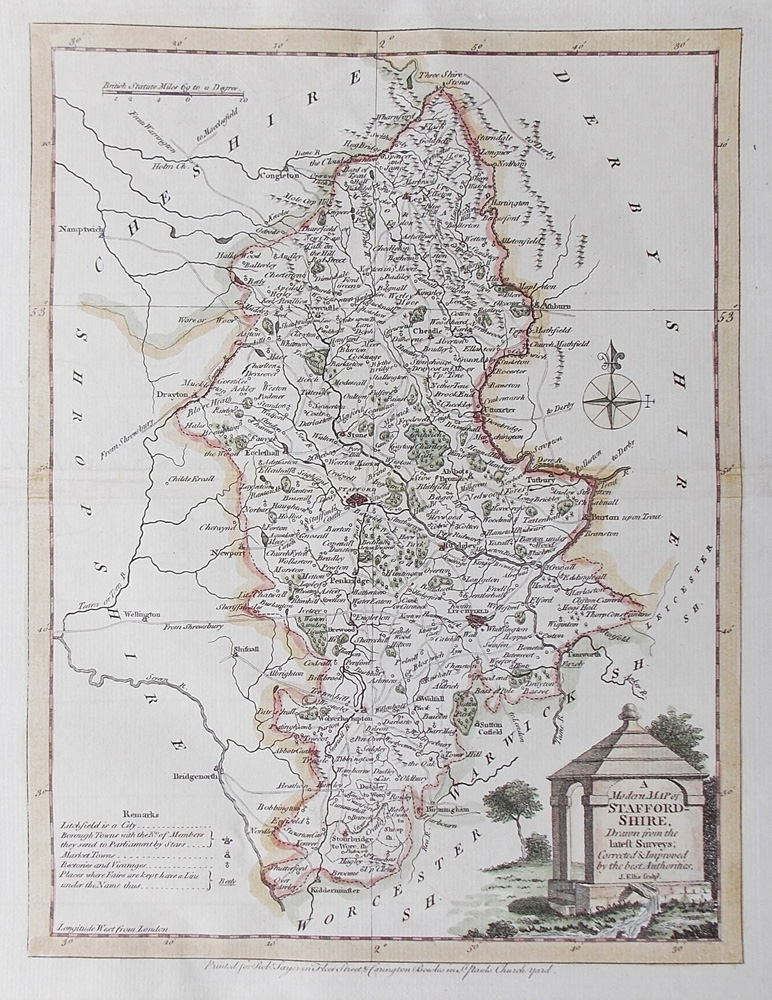Staffordshire 18th century map by Ellis