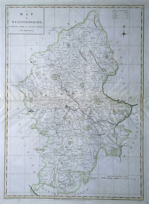 Antique Map of Staffordshire by Harrison