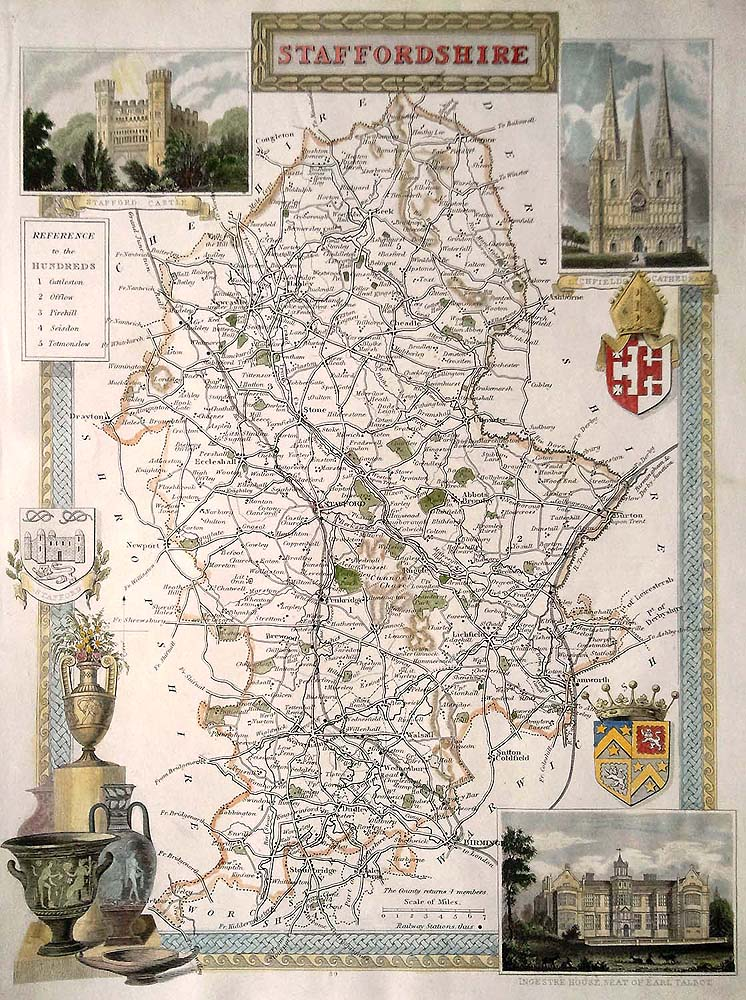 Staffordshire antique map by Thomas Moule