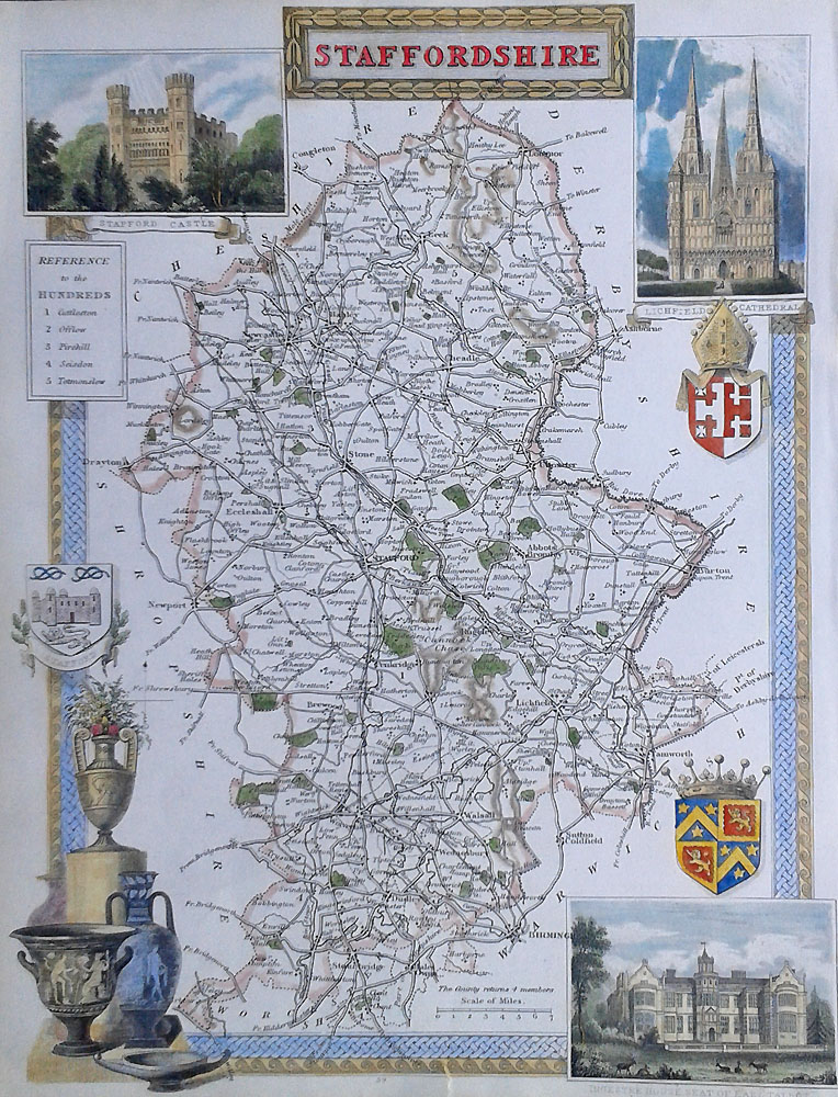 Decorative Victorian Map of Staffordshire
