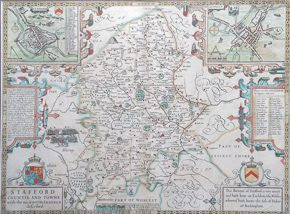 Antique map of Staffordshire by John Speed for sale