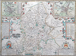 John Speed first edition map of Staffordshire for sale