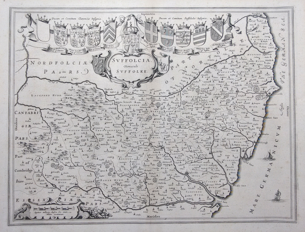 Original 17th century map of Suffolk by Joan Blaeu for sale