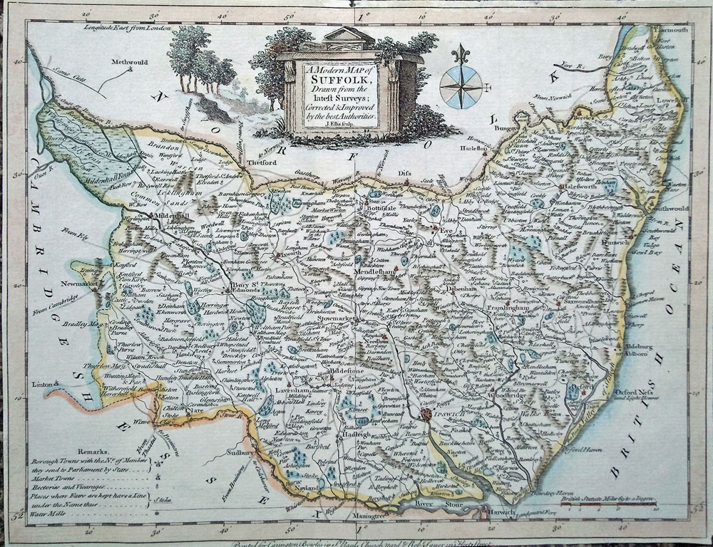 18th century map of Suffolk by Ellis