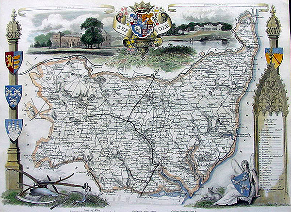 Antique Map of Suffolk by Thomas Moule
